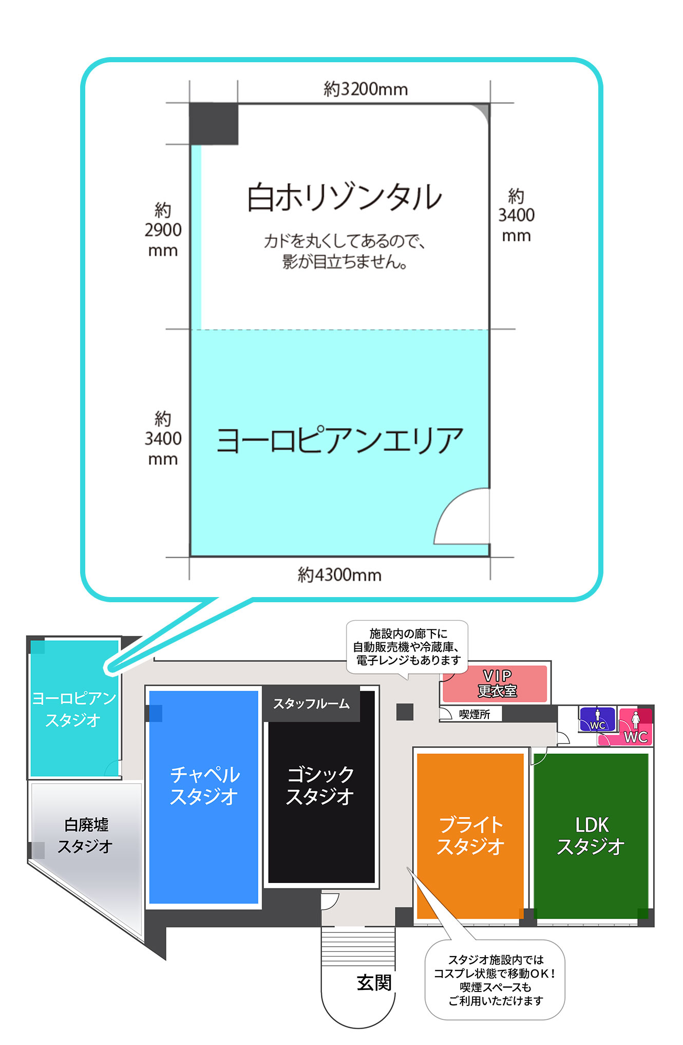 大阪平野ヨーロピアンスタジオ見取り図